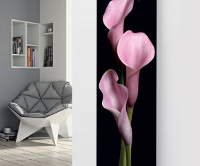 Ximax Glass Designer Radiator P62 Black Pink Flower Image