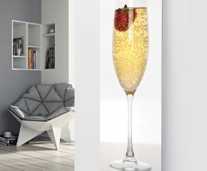 Ximax Glass Designer Radiator P66 Champagne with Single Strawberry Image